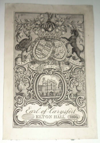 Earl Of Carysfort - Ex Libris Bookplate - by Charles William Sherborn, 1894