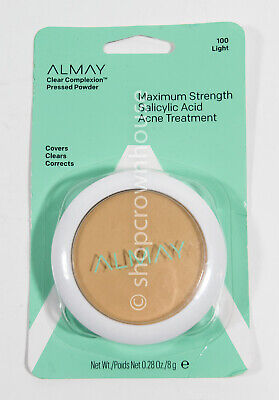 Almay Clear Complexion Pressed Powder Maximum Strength Acne Treatment #100 LIGHT Almay Clear Complexion Powder