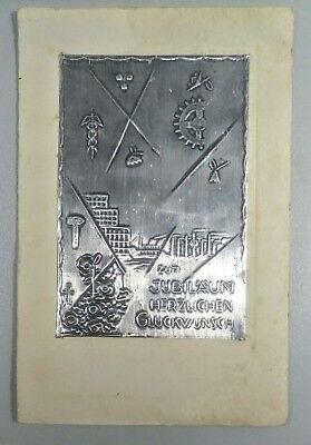 1937 monogr. AJ Metall Zinn? alteJubiläum AK Künstlerkarte PK Industrie Handwerk