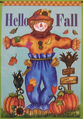 "Halloween ""Hello Fall"" Scarecrow Pumpkins Garden Flag (12.5"" x 18"") 2 sided"