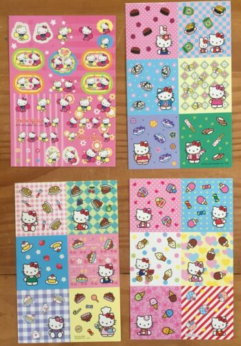 Sanrio Hello Kitty LOT OF 4 Sheets of Stickers!  All Sizes dated 2002 & 2004