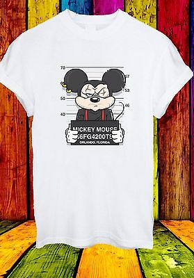 Disney T-shirts (Disney Mickey Mouse Mugshot Cartoon Character Funny Men Women Unisex T-shirt 639)
