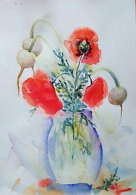 Original Aquarell A4 Format Blumen
