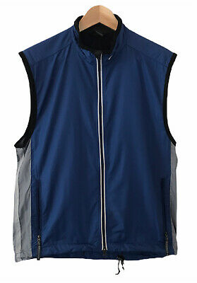 Mens Nike Lightweight Running Cycling Gilet Vest Jacket M Blue Zip