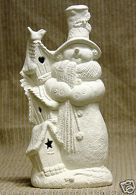 Ceramic Bisque Snowman Bird House Kimple Mold 3095 U-Paint Ready To Paint