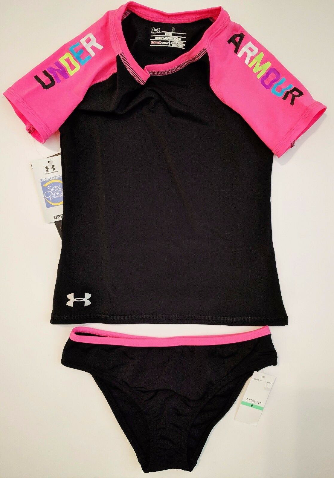 Under Armour Youth Girls Wordmark Rash Guard Top and Bottoms