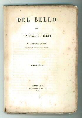 GIOBERTI VINCENZO DEL BELLO CAPOLAGO TIP. ELVETICA 1846 FILOSOFIA ESTETICA