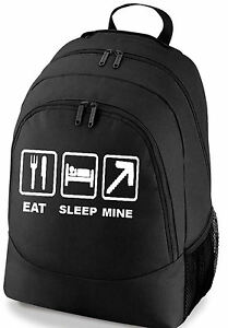 EAT-SLEEP-MINE-GAMING-SCHOOL-COLLEGE-SPORTS-BAG-BACKPACK-FREE-UK-POSTAGE