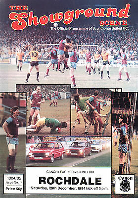1984/85 Scunthorpe United v Rochdale, Division 4, PERFECT CONDITION