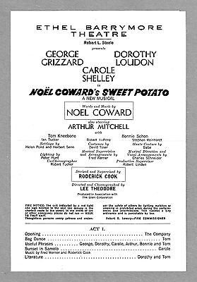 """Noel Coward """"SWEET POTATO"""" George Grizzard / Dorothy Loudon '68 Preview Playbill"""