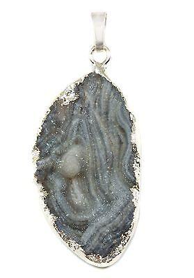 Druzy Necklace Pendant Silver Plate Large Cyrstal Drusy Mushroom Gray Oval 2