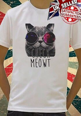 Check Meowt Space Glasses Cat Kitty cool Kids Boy Girls Unisex Top T-Shirt (Cat Space Glasses)