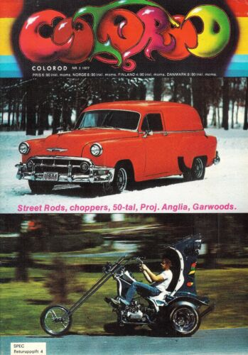 Vintage March 1977 Colorod Hot Rod Car Racing Motorcycle Magazine In Swedish