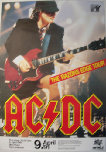 AC/DC CONCERT TOUR POSTER 1991 THE RAZORS EDGE ANGUS YOUNG