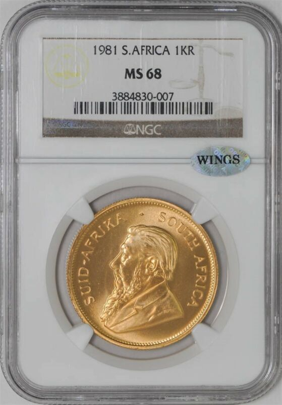 1981 South Africa Gold Krugerrand MS68 NGC ~ WINGS 1oz Fine Gold 930237-5