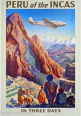 Peru of the Incas Machu Picchu Cusco Vintage Travel Art Poster Advertisement