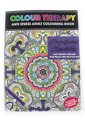 ADULT COLOURING BOOK ANTI STRESS THERAPY RELIEVER CREATIVE ART PATTERNS NEW