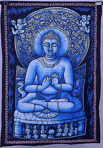 Indian Black Buddha Yoga tapestry Thai wall hanging bedspread Table cloth 40*30