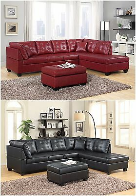 Brand New Pu Leather Living Room Furniture Sectional Sofa Set in Black/Red Modern Black Leather Sofa