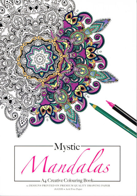 MYSTIC MANDALAS Creative Colouring Book A4 12 pgs 180gsm Drawing Paper for Adult