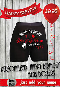 HAPPY BIRTHDAY Mens Personalised Boxers (Personalised Birthday Gift for Him)