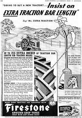 1941 Firestone Old Dobbin & Mr. Extra Traction Farm Tractor Tire Print Ad