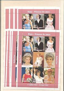BURKINA-FASO-1997-LADY-DIANA-Royalty-180F-x-10-MNH-SHEETS-OF-9-D450