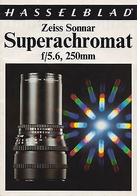 HASSELBLAD ZEISS SONNAR * SUPERACHROMAT * 250mm f5.6 - MANUFACTURERS BROCHURE
