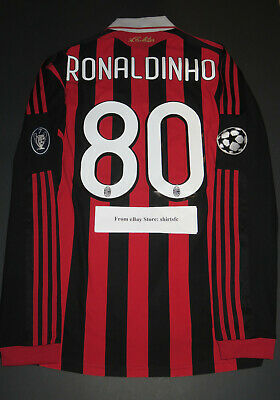 2009-2010 Adidas AC Milan Ronaldinho Champions League Long Sleeve Jersey Shirt