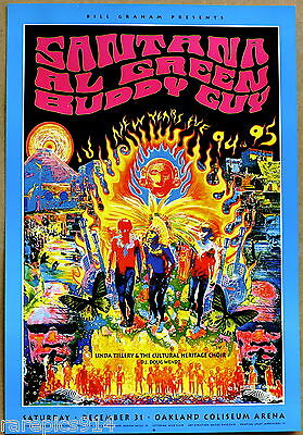 Santana Al Green Buddy Guy Bill Graham Oakland Arena Vintage Original Poster 94