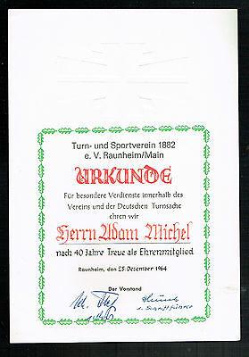 URKUNDE SPORTVEREIN RAUNHEIM: EHRENMITGLIED für 40 JAHRE TREUE, 1964