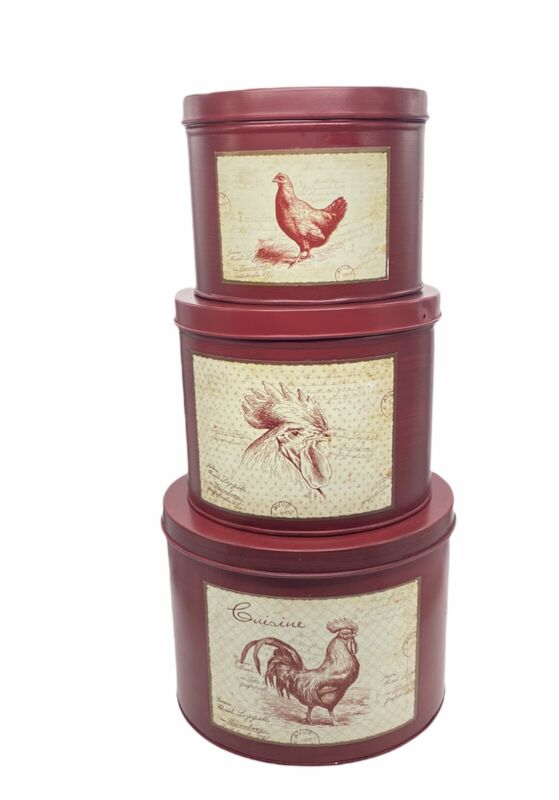 3 Tin Nesting Canisters Rooster Chicken Red Farmhouse Cottagecore Kitchen Decor