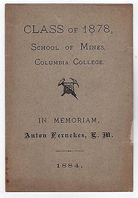 RARE 1884 Columbia College School of Mines UNIVERSITY New York City NYC Ivy