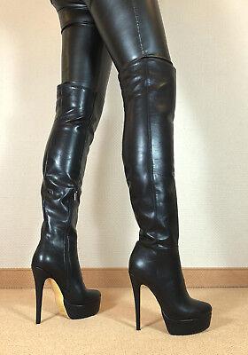 Sexy Boots (Gr.44 TOP ! Exklusiv Sexy Damen Schuhe Overknee Stiletto Stiefel Männer Boots D6)