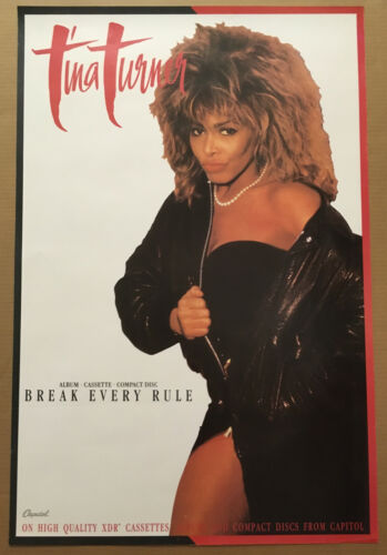 TINA TURNER Rare 1986 PROMO POSTER of  Break CD 24x36 NEVER DISPLAYED USA 1986