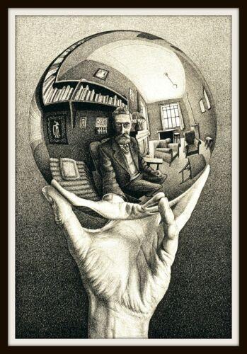"""5"""" M.C. Escher Hand With Reflecting Sphere vinyl sticker. Surrealist art decal."""