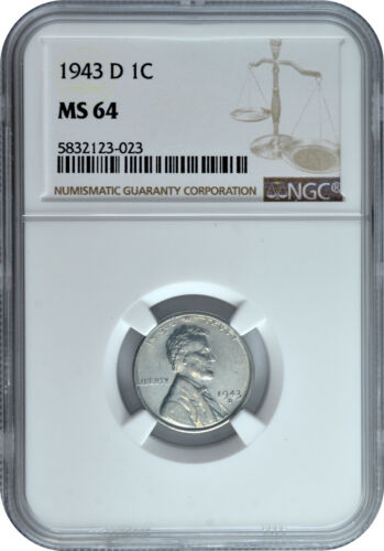 1943 D 1c Lincoln Steel Wheat Cent NGC MS 64