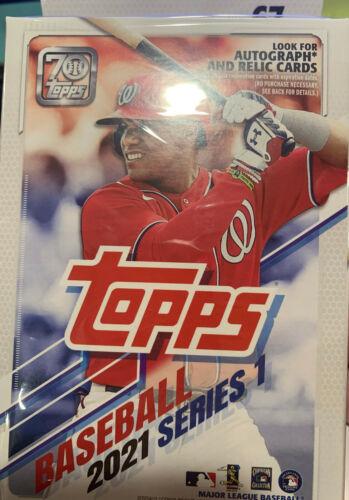 2021 Topps Baseball Series 1 Factory Sealed Hanger Box - 67 CARDS