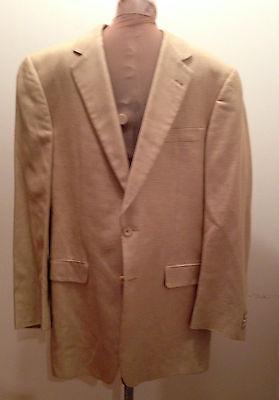 Burberry London Sports Coat Jacket Blazer Tan & Beige Houndstooth Size 40LG
