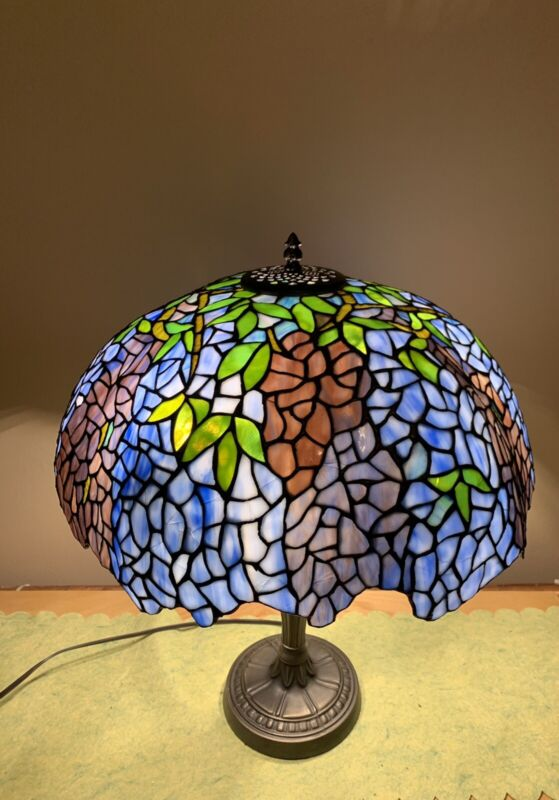 "Tiffany Wisteria Lamp Shade Stained Glass Laburnum Shape 20""W No Base"