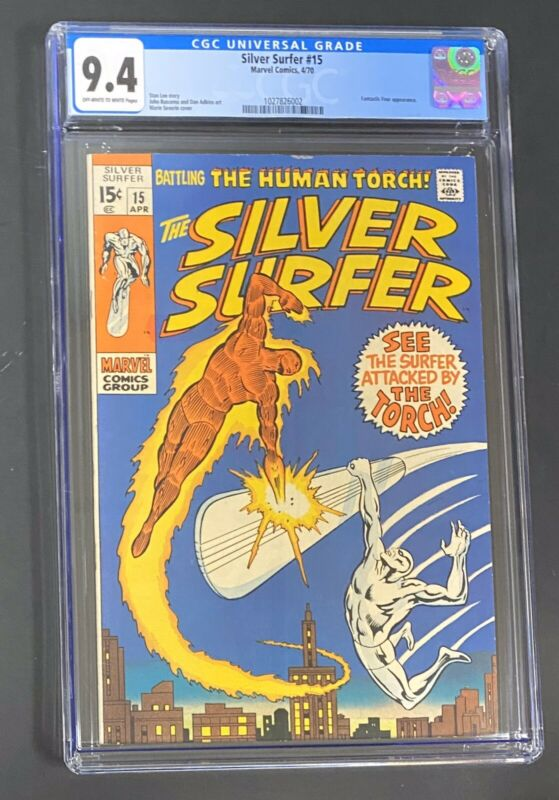 Silver Surfer #15 (Apr 1970, Marvel) CGC 9.4 Classic Surfer vs Human Torch Cover