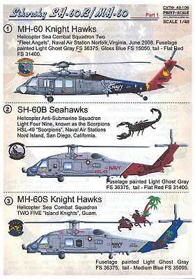 Pull a proof pix Scale Decals 1/48 SIKORSKY SH-60B SEA HAWK & MH-60 KNIGHT HAWK Helicopters