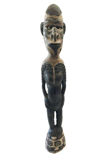 "Old Tribal Oceanic Papua-New Guinea Standing Ancestor Figure Sculpture 22"" H"