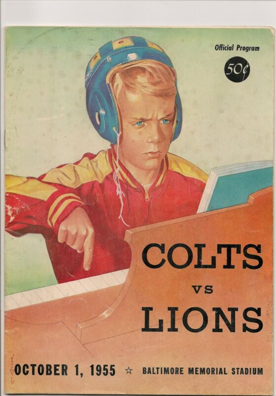 1955 Baltimore Colts-Lions Program The Horse Gallops to Win!!