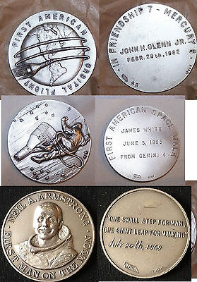1970's NASA 1 Orbital flight/Space walk/N.Armstrong 3 Apollo Medals-Affer/Italy