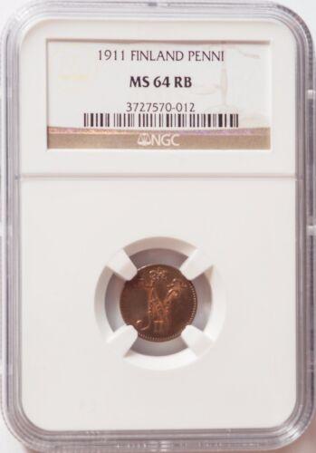 Finland Russia Tsar Nicolas II Copper Coin - 1911 1 Penni MS 64 RB NGC Choice!