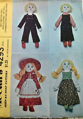 Vtg 70s cloth folksy doll pattern rag doll 20