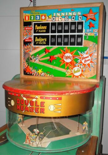 1950 Williams Double Header Shuffle Alley Baseball Machine w/Pop DOWN Runners!