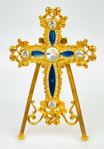 FABERGE Imperial Collection Gold Tone Rhinestone Enamel Cross Pendant On Stand