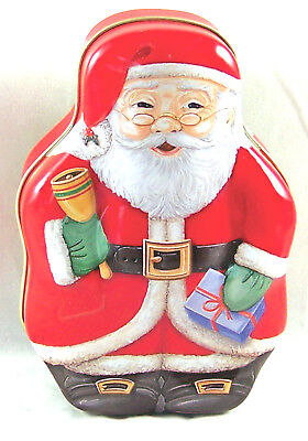 Santa Claus Tin Figure Shaped Empty Xmas Holiday Container Can Box TBC Designs